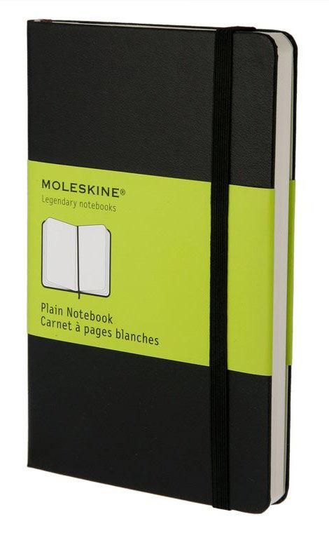 Блокнот Moleskine CLASSIC POCKET 90x140мм 192стр. нелинованный твердая обложка фиксирующая резинка ч [qp012]
