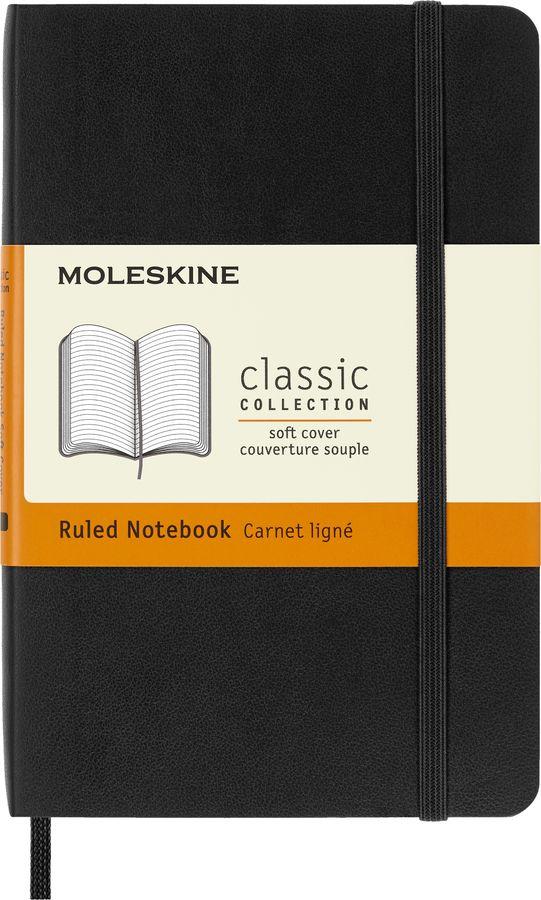 Блокнот Moleskine CLASSIC SOFT 90x140мм 192стр. линейка мягкая обложка фиксирующая резинка черный [qp611]