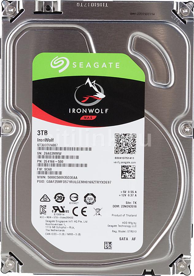 Жесткий диск SEAGATE Ironwolf ST3000VN007,  3Тб,  HDD,  SATA III,  3.5