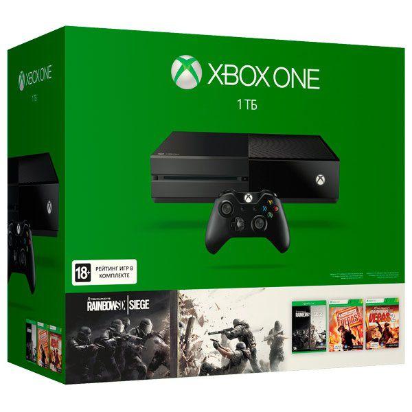 Игровая консоль MICROSOFT Xbox One с 1 ТБ памяти, играми  Rainbow Six Siege, Rainbow Six Vegas, Rainbow Six Vegas 2,  KF7-00121-L, черный