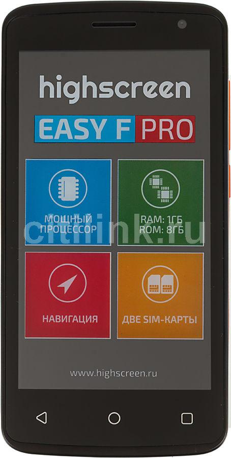 "Смартфон HighScreen Easy F PRO 8Gb оранжевый моноблок 3G 2Sim 4.5"" IPS 480x854 And5.1 5Mpix 802(Б/У)"