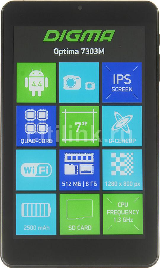 Планшет DIGMA Optima 7303M,  512Мб, 8GB, Android 4.4 черный [ts7070aw]