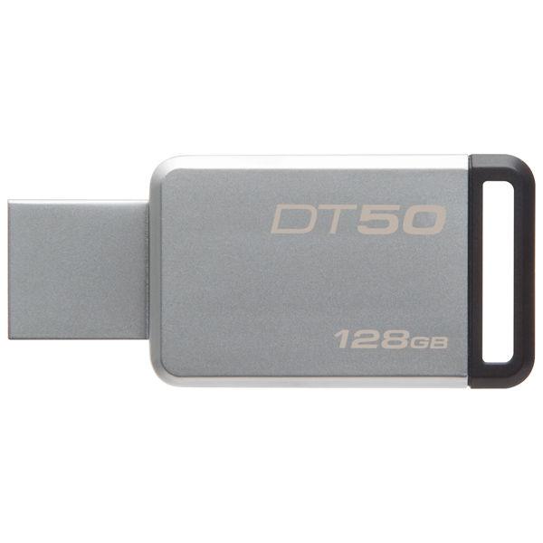 Флешка USB KINGSTON DataTraveler 50 128Гб, USB3.1, серебристый и черный [dt50/128gb]