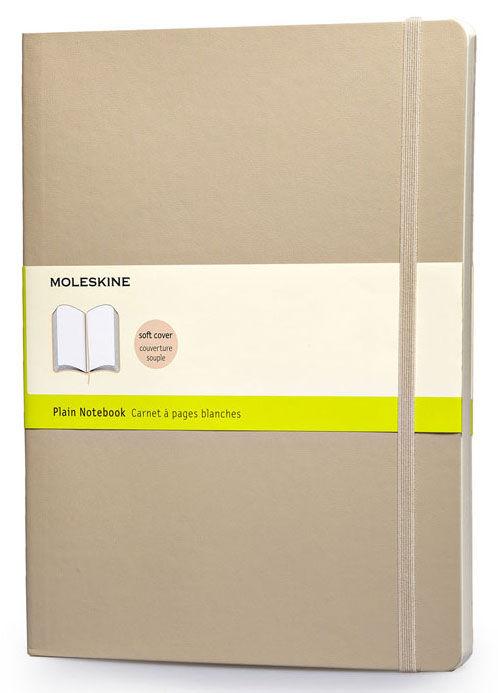 Блокнот Moleskine CLASSIC SOFT 190х250мм 192стр. нелинованный мягкая обложка фиксирующая резинка беж [qp623g4]