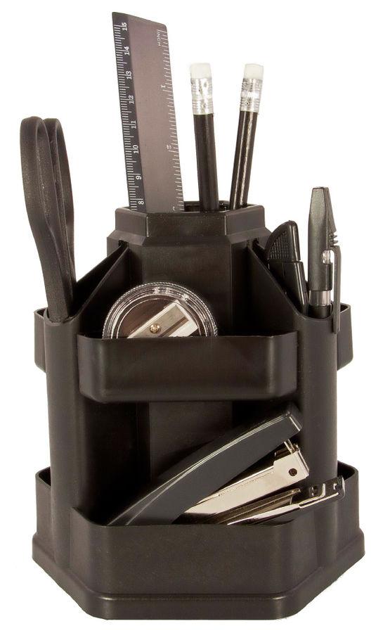 Настольный набор BURO Офисный, пластик, 14 предметов, черный [043000201]
