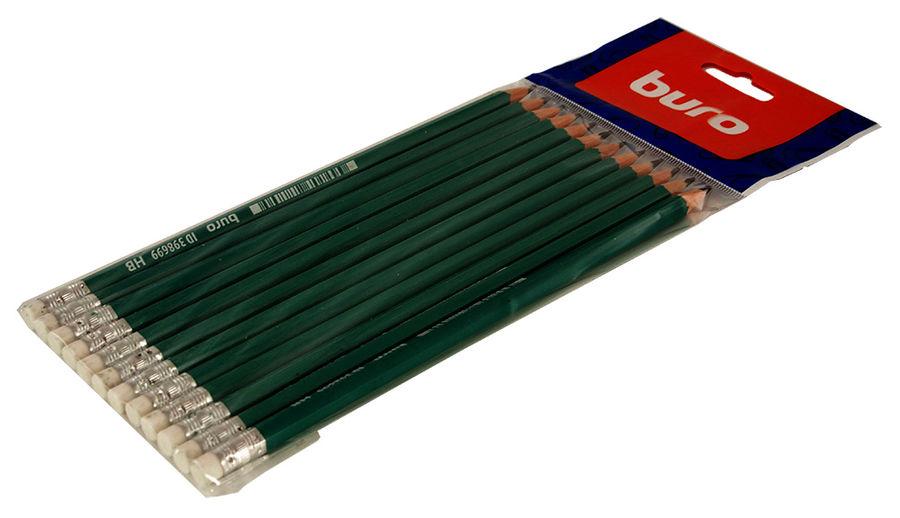 Карандаш чернографит. Buro 046000604 HB пластик ластик корпус зеленый
