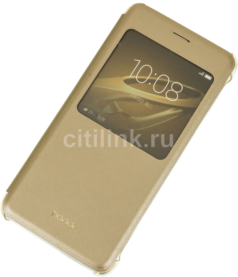 Чехол (флип-кейс) HONOR View Cover, для Huawei Honor 8, золотистый [51991683]