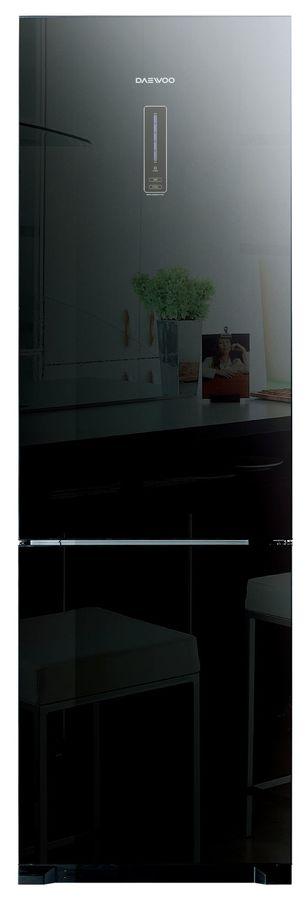 Холодильник DAEWOO RNV3310GCHB,  двухкамерный,  черное стекло