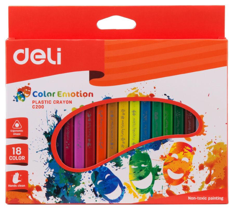 Восковые мелки Deli EC20010 Color Emotion трехгранные 18цв. картон.кор./европод.