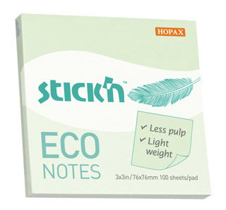 Блок самоклеящийся бумажный Stick`n ECO 21748 76x76мм 100лист. 60г/м2 пастель зеленый