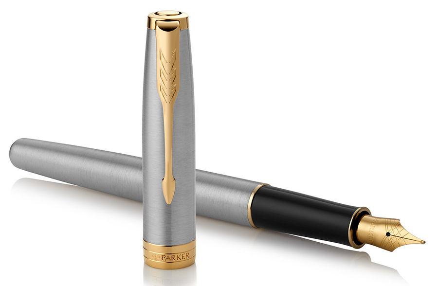 Ручка перьевая Parker Sonnet Core F527 (1931504) Stainless Steel GT F сталь нержавеющая/позолота под