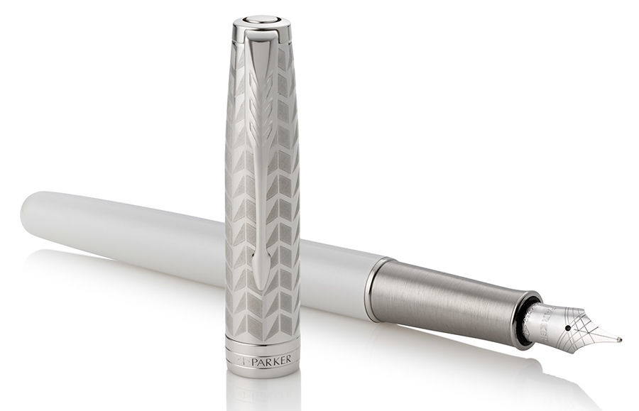 Ручка перьевая Parker Sonnet Premium F540 (1931547) Pearl Metal PGT F золото 18K подар.кор.