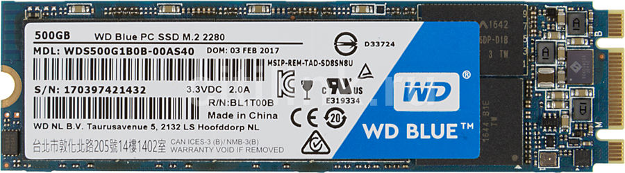 SSD накопитель WD Blue WDS500G1B0B 500Гб, M.2, SATA