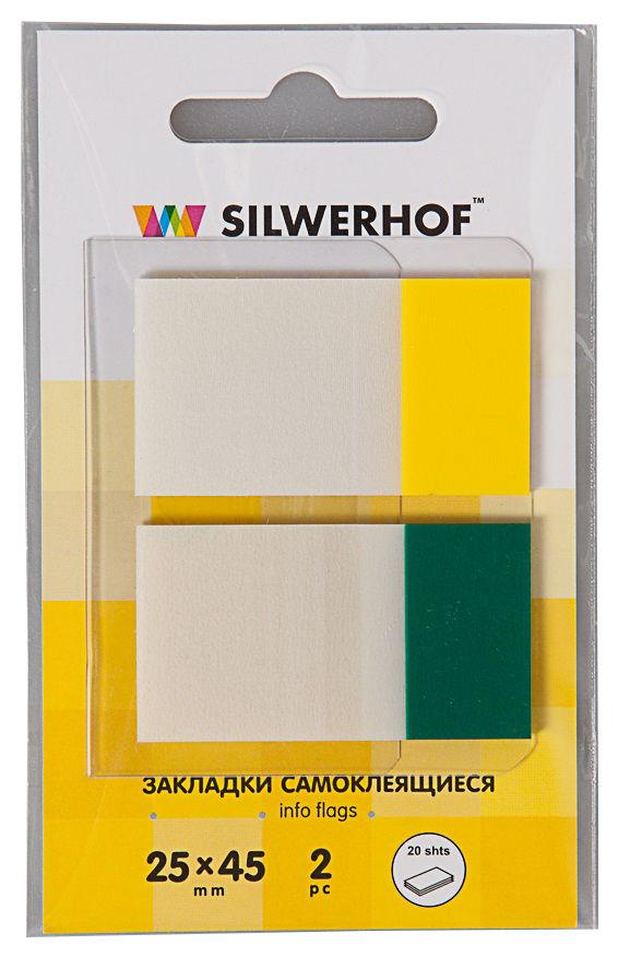 Закладки самокл. пластиковые Silwerhof 801004 45x25мм 2цв.в упак. 20лист диспенсер