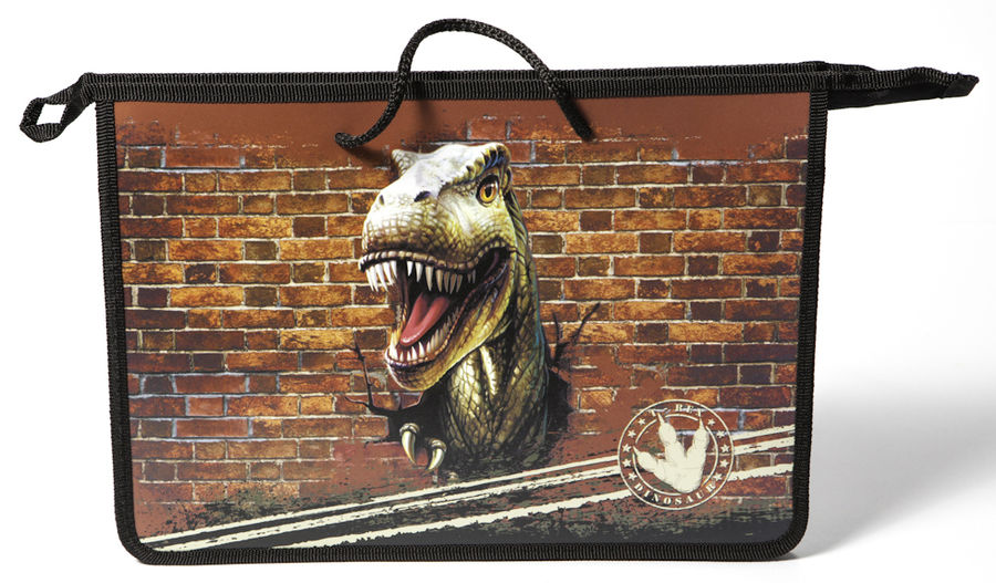 Папка для тетрадей Silwerhof 671734 Динозавр 2 A4 340х245х75мм 1отд. пластик на молнии руч.шнурки ши
