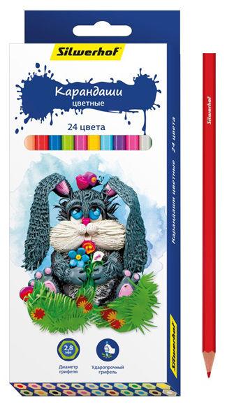 Карандаши цветные Silwerhof 134195-24 Пластилиновая коллекция шестигран. 2.8мм 24цв. коробка/европод
