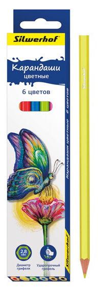 Карандаши цветные Silwerhof 134196-06 Бабочки шестигран. 2.8мм 6цв. коробка/европод.