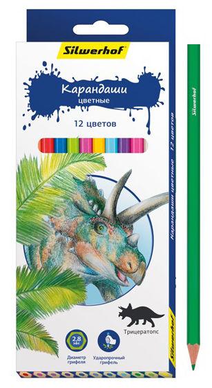 Карандаши цветные Silwerhof 134197-12 Динозавры шестигран. 2.8мм 12цв. коробка/европод.