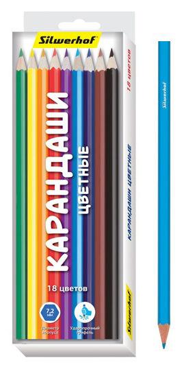 Карандаши цветные Silwerhof 134206-18 Народная коллекция шестигран. 2.65мм 18цв. коробка/европод.