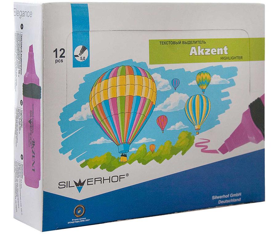 Текстовыделитель Silwerhof Akzent 108006-20 скошенный пиш. наконечник 1-5мм резиновый грип 1цв. розо