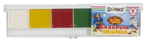 Краски акварельные Silwerhof 961100-06 В гостях у сказки медовые 6цв. без кисти пласт.пен.