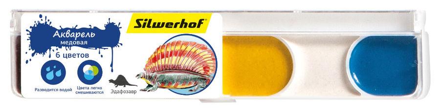 Краски акварельные Silwerhof 961125-06 Динозавры медовые 6цв. без кисти пласт.пен.