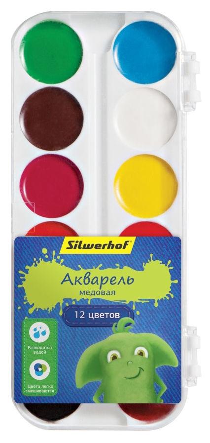 Краски акварельные Silwerhof 961121-12 Джинсовая кол-ция медовые 12цв. без кисти пласт.пен.