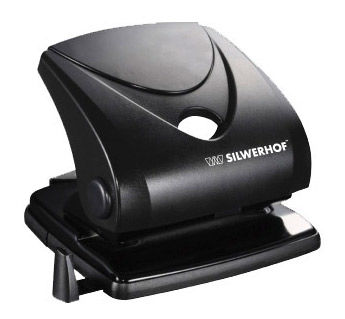 Дырокол Silwerhof SCHWARZ 391032-01 макс.:30лист. пластик черный отв.:2 с линейкой