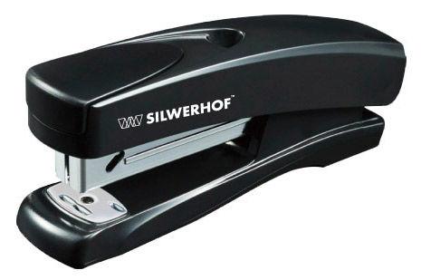 Степлер Silwerhof 401064-01 SCHWARZ 24/6 26/6 (20листов) черный 100скоб пластик