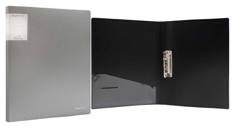 Папка с метал.зажим Silwerhof Perlen 281903-77 A4 0.7мм внут.и торц.карм серебристый металлик