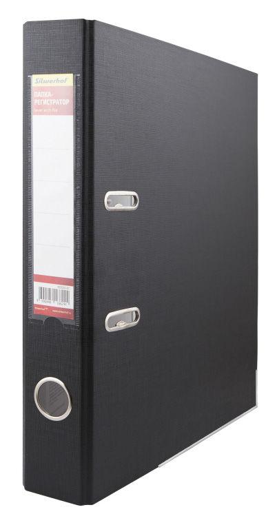 Папка-регистратор Silwerhof 355020-01 A4 50мм ПВХ/бумага черный мет.окант. смен.карм. на кор.