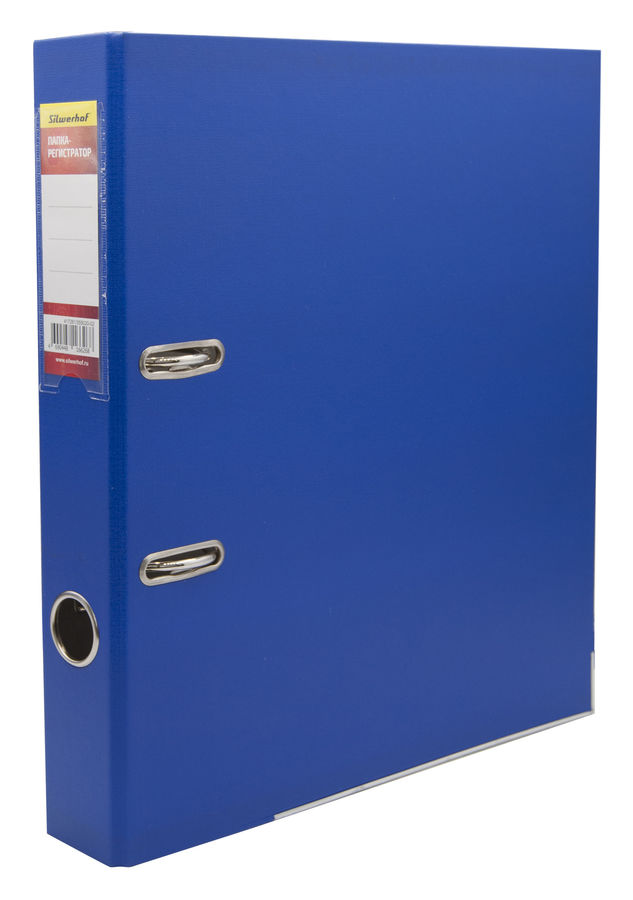Папка-регистратор Silwerhof 355020-02 A4 50мм ПВХ/бумага синий мет.окант. смен.карм. на кор.