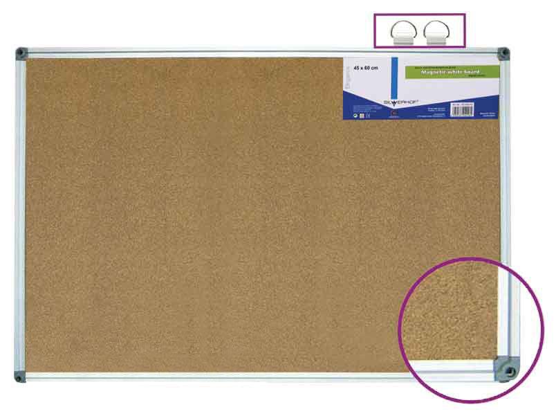 Демонстрационная доска Silwerhof 654005-02 пробковая 60x90см алюминиевая рама