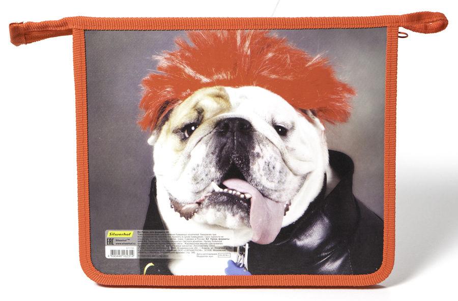 Папка для тетрадей Silwerhof 671705 Креативная собака A5 230х195х40мм 1отд. пласт./лам.карт. на молн