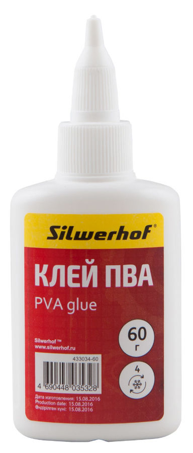 Клей ПВА Silwerhof 433034-60 60гр морозоустойчивый