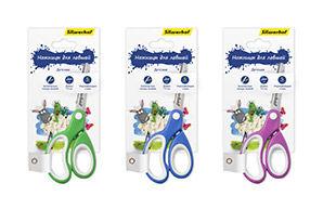 Ножницы для левшей Silwerhof 453081 Пластилиновая коллекция детские 140мм ручки с резиновой вставкой