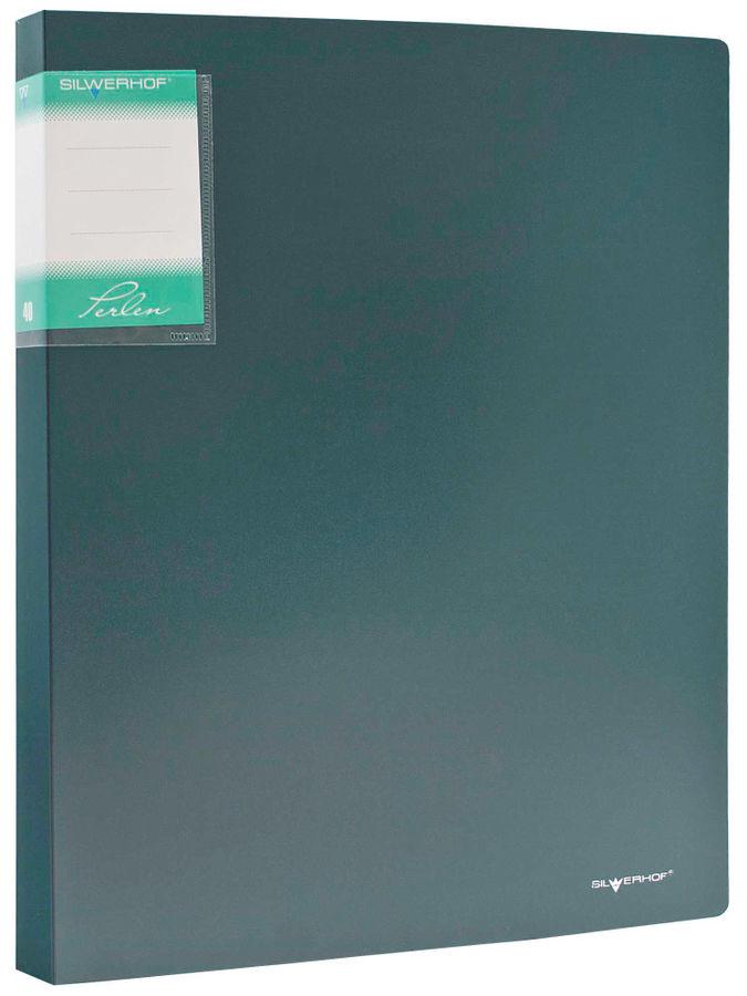 Папка с 40 прозр.вклад. Silwerhof Perlen 291940-75 A4 0.8мм карман зеленый металлик