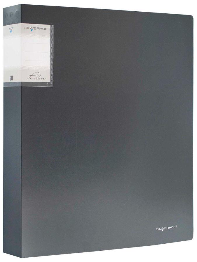 Папка с 60 прозр.вклад. Silwerhof Perlen 291960-76 A4 0.9мм карман мокрый асфальт металлик