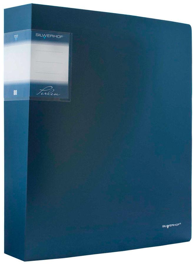 Папка с 80 прозр.вклад. Silwerhof Perlen 291980-74 A4 1.1мм карман синий металлик
