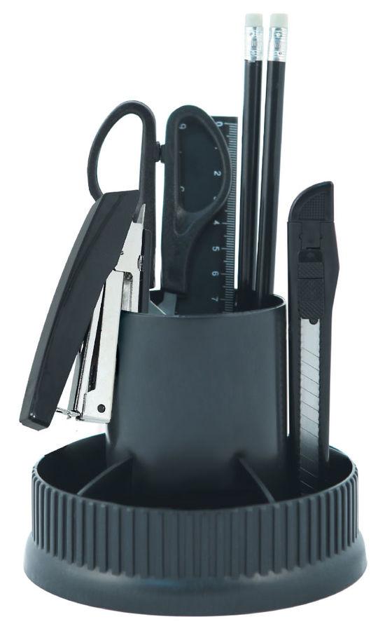 Настольный набор SILWERHOF вращающаяся конструкция, пластик, 12 предметов, черный [172011-01]