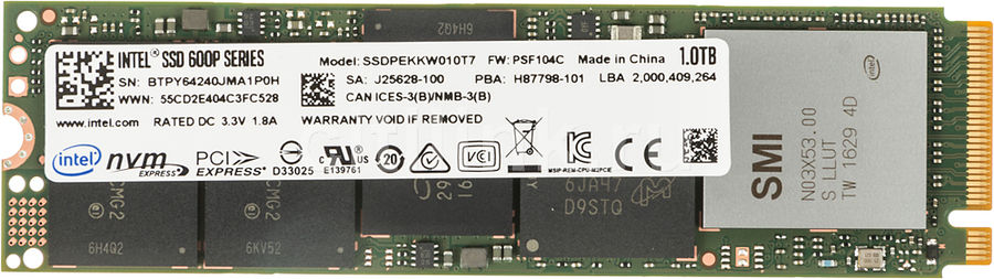 SSD накопитель INTEL 600p Series SSDPEKKW010T7X1 1Тб, M.2 2280 (Single Sided), PCI-E x4 [ssdpekkw010t7x1 950361]