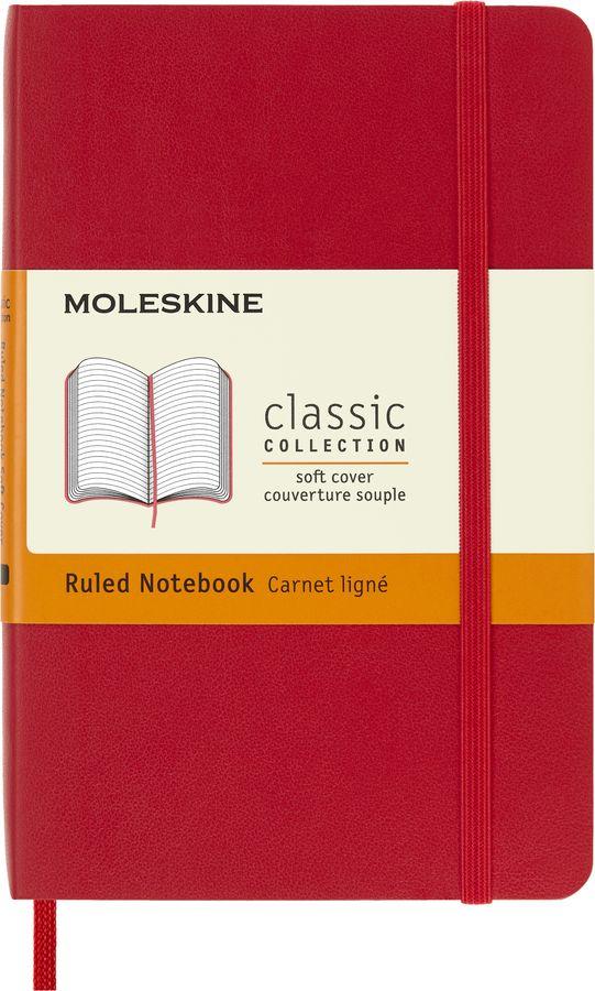 Блокнот Moleskine CLASSIC SOFT Pocket 90x140мм 192стр. линейка мягкая обложка красный [qp611f2]