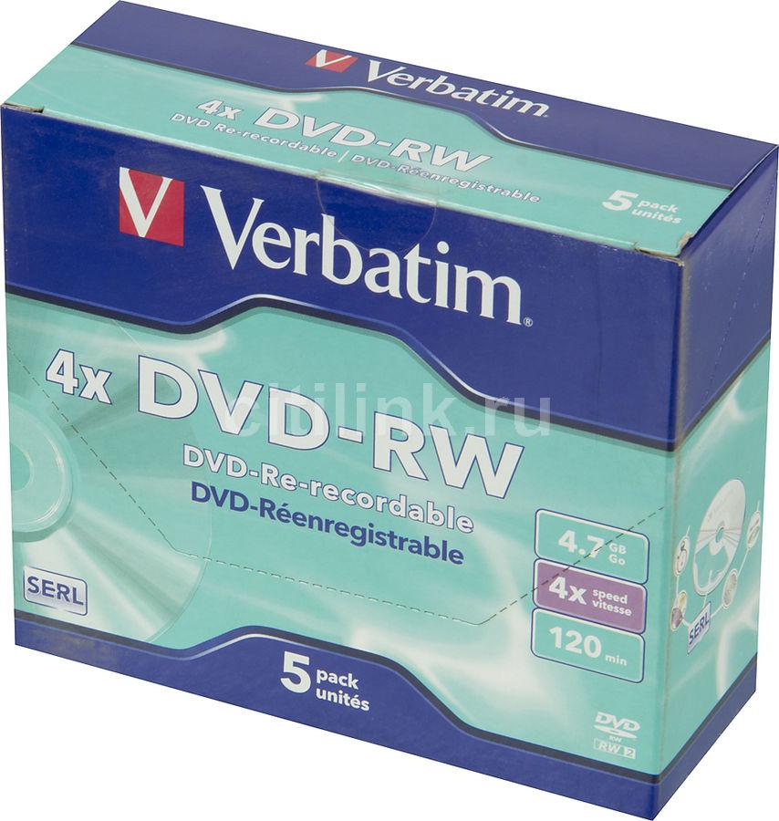 Оптический диск DVD-RW VERBATIM 4.7Гб 4x, 5шт., jewel case [43285]
