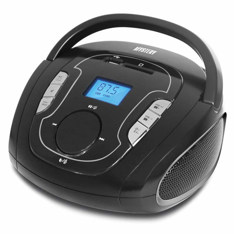 Аудиомагнитола MYSTERY BM-6008UB,  черный и серебристый