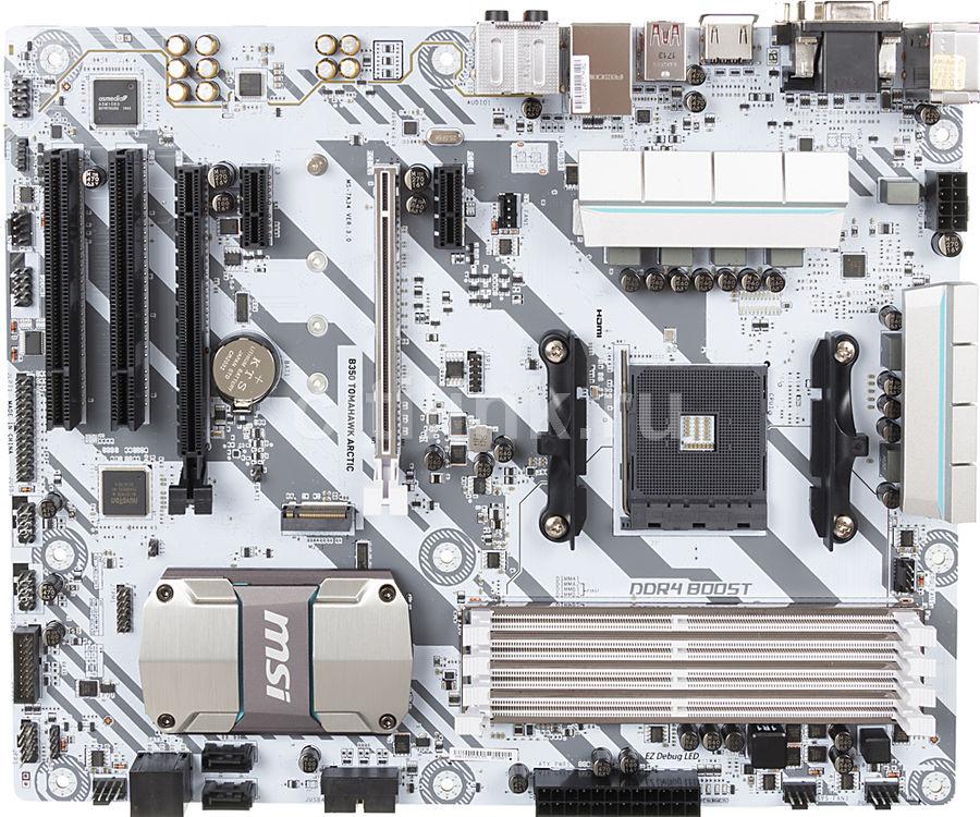 Материнская плата MSI B350 TOMAHAWK ARCTIC, SocketAM4, AMD B350, ATX, Ret