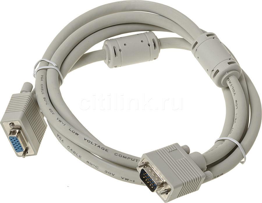 Кабель-удлинитель VGA  VGA (m) -  VGA (f),  ферритовый фильтр ,  1.8м,  серый