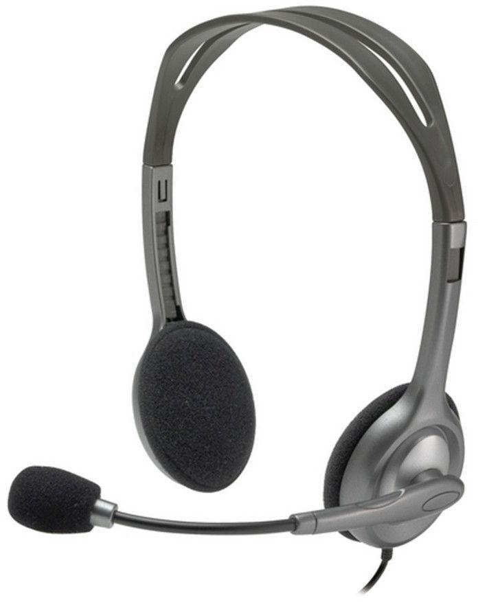 Наушники с микрофоном LOGITECH H111,  981-000593,  накладные, серый