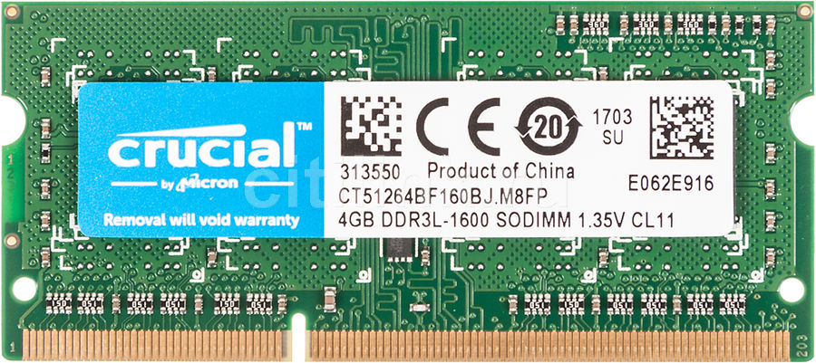 Модуль памяти CRUCIAL CT51264BF160BJ DDR3L -  4Гб 1600, SO-DIMM,  Ret