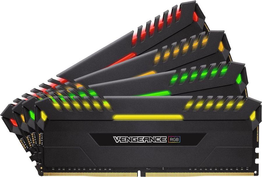 Модуль памяти CORSAIR Vengeance RGB CMR32GX4M4C3466C16 DDR4 -  4x 8Гб 3466, DIMM,  Ret