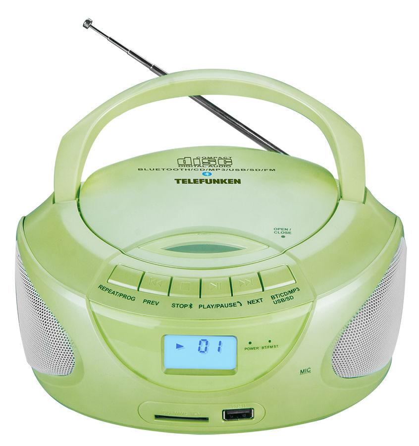 Аудиомагнитола TELEFUNKEN TF-CSRP3490B,  зеленый